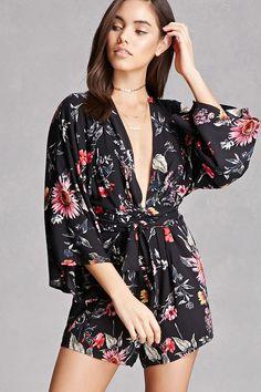0382c8f7ed98 Floral Print Kimono Romper Rompers Women