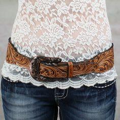Ladies' Wide Natural Floral Tooled Belt