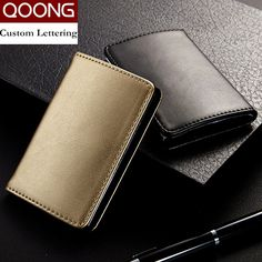Stainless steel credit card holder faux leather case box id business qoong fashion men women genuine leather stainless steel hasp business name id credit card holder case large capacity kh1 015 colourmoves