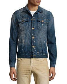 Jimmy Western-Style Distressed Denim Jacket, Medium Blue - True Religion