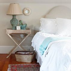 Muted gray and soft blue create a calming color scheme. More ways to decorate with gray: http://www.bhg.com/decorating/color/neutrals/decorating-with-gray/