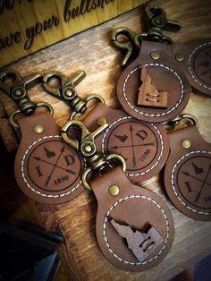 Leather Keychain (plus Walnut & Antique Bronze), Idaho Compass Design