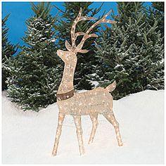 pre lit glittering champagne deer at big lots - Big Lots Christmas Lawn Decorations