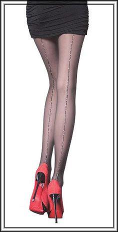 Pretty Polly Nylons Strumpfhose mit Strapsmuster Gr S//M M//L Schwarz mit Naht