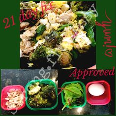 Lunch  Back on that 21 day fix! I love love love this program. Even when I'm not following it exactly I still use the portion control containers. It's so easy!!!❤️  Here I have 2 greens(veggies) 1 red (protein)   Mixed greens, Brocolli, Brussel sprouts, 1 boiled egg, half a container of diced chicken.  Added some seasoning and delish   Starting a new group in August  10-15 pounds could be gone in only 21 days!!  Want in?! Message me