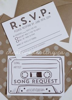 Use the cassette one as Save the Date!  How fun!                              …