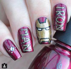 iron man Marvel Nails, Avengers Nails, Sexy Nails, Love Nails, Fun Nails, All Things Beauty, Beauty Make Up, Iron Man Nails, Iron Man Party