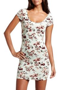 Mint Floral Cotton Body-Con Dress: Charlotte Russe $18.99
