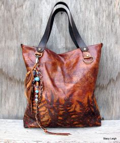 RESERVED for Erin Woodland Leather Tote Bag with Embossed