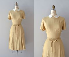 50s dress / 1950s dress / Amical linen dress. $134.00, via Etsy.