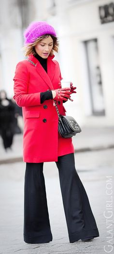 flare trousers | red coat | winter outfit ideas | vintage chanel bag |