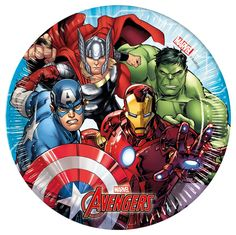 The Avengers Marvel Heroes round paper plates will definitely spice up the next childhood hero theme party or kids birthday party . Avengers Shield, Avengers Team, Baby Avengers, Avengers Art, Avengers Superheroes, Marvel Heroes, Hulk Birthday, 3rd Birthday, Birthday Ideas