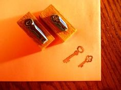 Items similar to Keys to my heart - hand carved stamps on Etsy Handmade Stamps, Handmade Gifts, Eraser Stamp, Antique Keys, Heart Hands, Key To My Heart, Hand Carved, Crafts For Kids, Carving