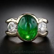 Cabochon  Emerald and Diamond ring.