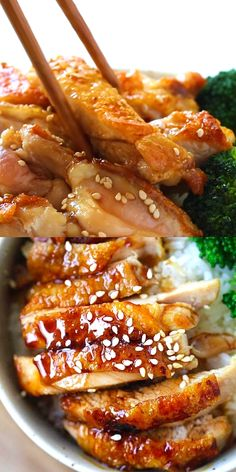 Chicken Teriyaki - easy and the best homemade teriyaki with only 4 ingredients. SO good and even the pickiest eaters lov Easy Chicken Dinner Recipes, Baked Chicken Recipes, Healthy Dinner Recipes, Easy Meals, Cooking Recipes, Korean Food Recipes, Vietnamese Recipes, Easy Cooking, Tasty Videos