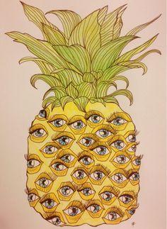 Fun illustration of a p-eye-napple. Wow Art, Mellow Yellow, Collage Art, Art Inspo, Illustration Art, Pineapple Illustration, Print Patterns, Art Photography, Artsy