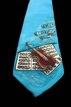 Hand Painted Silk Tie-Violin,music,hand made necktie,hand made tie,hand painted necktie,gift,present for him,made to order by Aryonelle on Etsy
