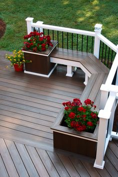 Add a #Deck #Bench with potted plans for a #Relaxing place to sit and enjoy long summer days! See our outdoor living space home plans at http://www.dongardner.com/House_Plans_with_Outdoor_Living_Spaces.aspx.