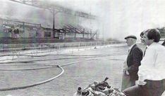 The fire that destroyed the South Stand in August 1980
