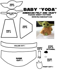 """How to make a """"Baby Yoda"""" from felt Guys….Baby Yoda though? If you haven't been watching Disney +'s the Mandalorian you haven't experienced the pure joy and happiness that a miniature Yoda brings. Disney Diy, Disney Crafts, Felt Crafts Patterns, Sewing Patterns, Felt Doll Patterns, Felt Patterns Free, Manualidades Star Wars, Sewing Crafts, Sewing Projects"""