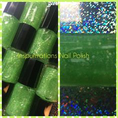 Color #6 is Isaiah 60:1 A bright fluorescent green glitter topcoat. This does not glow in the dark! It will look best with a few coats over white so you can see the color. I now have 50 colors that you can see at my website www.inspurrrations.com