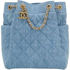 Pre-Owned Chanel Light Blue Quilted Denim Drawstring Bag (4 215 120 LBP) ❤ liked on Polyvore featuring bags, handbags, blue, quilted purses, strap purse, blue drawstring bags, quilted handbags and blue handbags