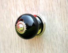 Black Round Ceramic Cabinet Knobs/Dresser by PhoenixCraftsGallery