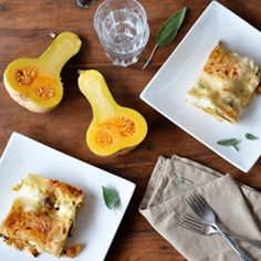 Roasted butternut squash lasagna with creamy white sauce. Perfect vegetarian main dish for Thanksgiving...