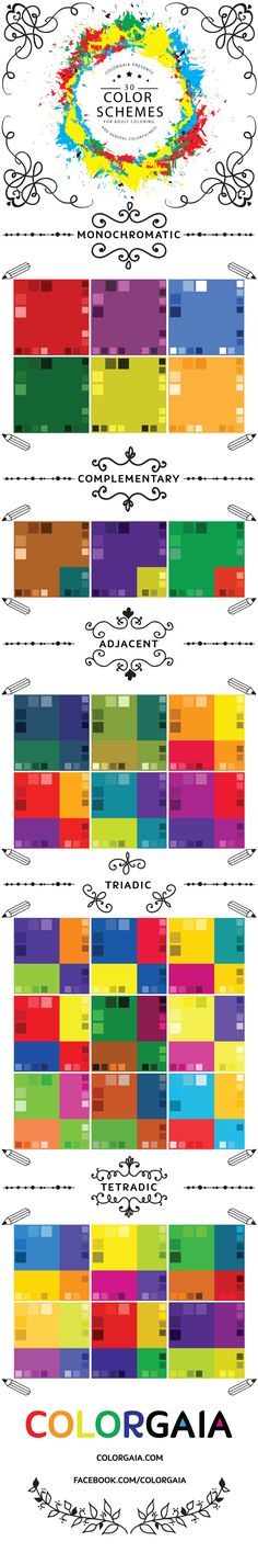 One of the hardest tasks for new adult colorists is choosing a color scheme. This infographic provides 30 examples of different color schemes categorized by their color wheel relationships. Check it out and get some inspiration for your next coloring project!
