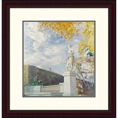 """Global Gallery 'A Statue of Venus in the Garden of Versailles' by Paul Cesar Helleu Framed Painting Print Size: 24"""" H x 23.24"""" W x 1.5"""" D"""
