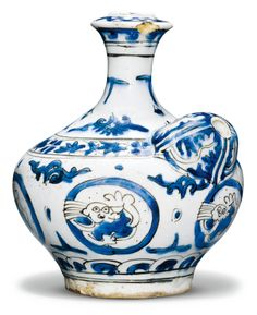 A Safavid blue and white pottery huqqa base (ghalian), Persia, 17th century | Sotheby's