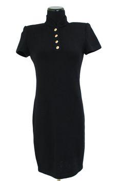 St. John Collection Marie Gray Santana Knit Little Black Dress 2 Size 2