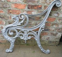Griffin Bench Ends - three pairs in stock. Cast Iron Garden Furniture, Outdoor Furniture Bench, Cast Iron Garden Bench, Cast Iron Bench, Sofa Furniture, Furniture Design, Outdoor Decor, Victorian Benches, Wrought Iron Bench