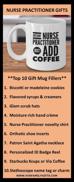 The best gift ideas for a male or female nurse practitioner, registered nurse, nursing school student, or graduating RN; coffee mugs are always a top gift idea.  11 ounces; made from the highest quality ceramic; microwave and dishwasher safe. Printed on both sides for left- or right-handed users; the print will never fade no matter how many times it's washed!  Custom printed, packaged, and shipped in the USA! #NP #nursepractitioner  #nurse #nurselife #nursegift #rn #nursingschool… Top Gifts, Gifts In A Mug, Best Gifts, Nurse Practitioner Gifts, Novelty Shirts, Grad Gifts, Nurses Week, Nurse Life, Office Gifts