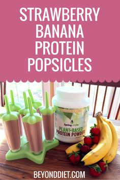 Strawberry Banana Protein Popsicles - A kid-friendly, fruity and sweet, protein-packed treat!