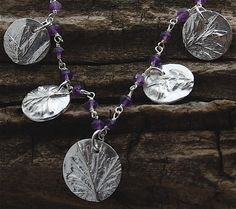 silver necklace, eco friendly necklace, herb necklace, amethyst necklace, made in america, and sterling wrapped beads. $95.00, via Etsy.