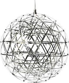 The Moooi Raimond Dimmable Suspended Lamp is a spherical modern pendant lamp, comprised of stainless steel bands, and studded with tiny LED lights. This dazzling lamp is dimmable, making it adjustable to a range of lighting needs. Large Pendant Lighting, Pendant Chandelier, Globe Pendant, Modern Chandelier, Chandeliers, Suspension Cable, Net Lights, Fairy Lights, Buckminster Fuller