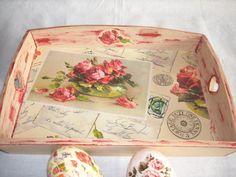 Wooden tray, handmade decoupage, acrylic paint, varnish on Etsy, £12.60