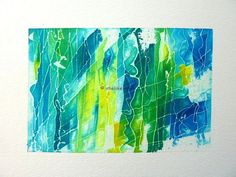 Original Abstract Painting, a mixed media art work with watercolour inks in blue and green.