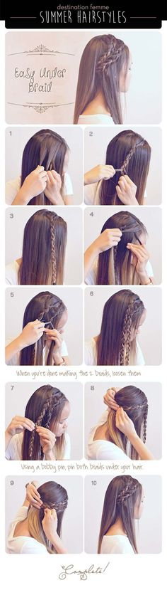 Summer Braid Hairstyle For Summer summer long hair braids diy hair hair tutorial. - Summer Braid Hairstyle For Summer summer long hair braids diy hair hair tutorial hairstyles hair tu - Under Braids, Braided Hairstyles Tutorials, Braid Tutorials, Trendy Hairstyles, Medium Hairstyles, Hairstyle Ideas, Long Haircuts, Makeup Hairstyle, Summer Hair Tutorials
