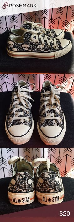 Skull Print Converse Chuck Taylor's Men's size 3, Women's size 5 Converse Chuck Taylor's in black with a skull print.  These are preloved but in very good condition. White soles have minor wear/ scuffs. There is a lot of life left in these. Comes in original box. Converse Shoes Sneakers