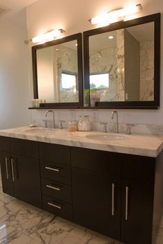 Modern Bathroom With Espresso Stained Double Bathroom Vanity With Marble Countertop Double Sinks Espresso Stained Wood Framed Bathroom Mirrors And Marble