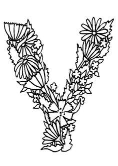 alphabet fleurs v