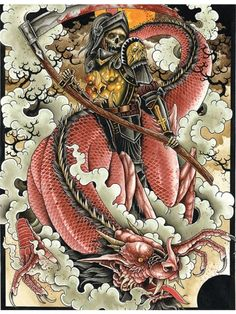 """Death and the Dragon"" Giclee Archival Print by Mindzai Creative (Black) #InkedShop #art #artwork #print"