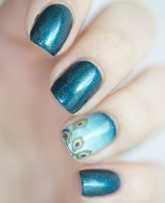 Nail art plume paon aux Water Decals