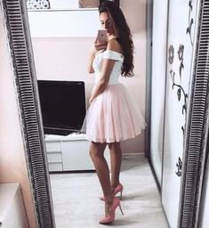 Sexy Off Shoulder Prom Dress, Short Appliques Prom