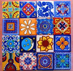 16 pcs Mexican Tile Talavera Handmade talavera tile 2x2 mosaic craft tiles construction tribal tile magnet # 01