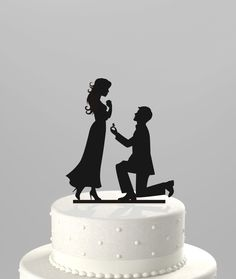 Wedding Cake Topper Silhouette Proposal Groom proposing to his Bride to be - Acrylic Cake Topper [CT27]