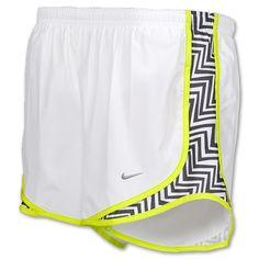 Nike Printed Side Panel Tempo Womens Running Shorts| FinishLine.com | White/Black/Cyber