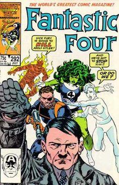 """Hitler again. """"Nick Fury is going to KILL Adolf Hitler!"""", Fantastic Four #292, Art: John Byrne"""